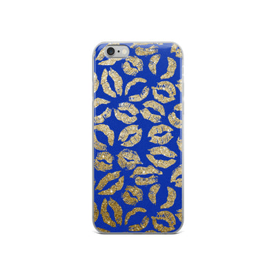 Gold Glitter Lipstick Kisses on Sene-Blue Background LIPS Cell Phone Case - iPhone
