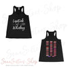 Lipstick & Whiskey & Lipsense 50 Lip Color Swatches - Ladies Women's Flowy Racerback Tank Top Women - Bella & Canvas -  colors available - PLUS Size XS-2XL MADE IN THE USA
