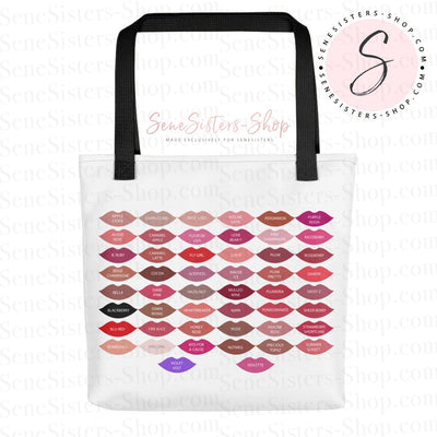 Lipsense 50 shades Lip Color Swatches Chart Lipstick Kisses 15x15 Tote Shopping Bag