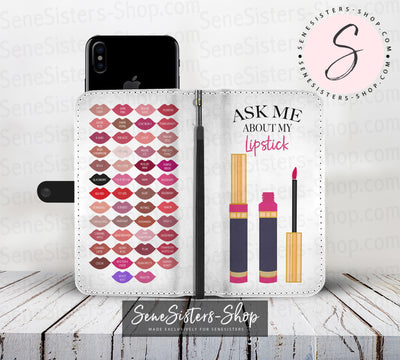 Ask me about my Lipstick & Lipsense 50 Lip Color Chart Lips Kisses Cell Phone Wallet Case