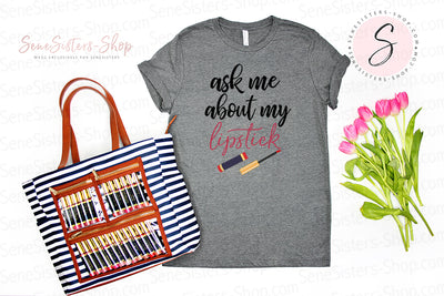 ask me about my lipstick - LIPSENSE - Bella & Canvas - O-neck Unisex Short Sleeve Jersey Tee - 9 Colors Available Plus Size XS-4XL - MADE IN THE USA