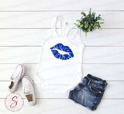 Lipstick slanted Lips Kiss Print Design (Blue) - Ladies Racerback Tank Top Women - 10 colors available - PLUS Size XS-2XL MADE IN THE USA