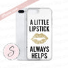 A Little Lipstick Always Helps - Gold Glitter Lips Kiss on White Background Cell Phone Case - iPhone