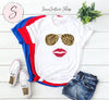 Leopard Sunglasses & Red Lipstick Lips - Bella & Canvas - O-neck Unisex Short Sleeve Jersey Tee - 12 Colors Available Plus Size XS-4XL - MADE IN THE USA