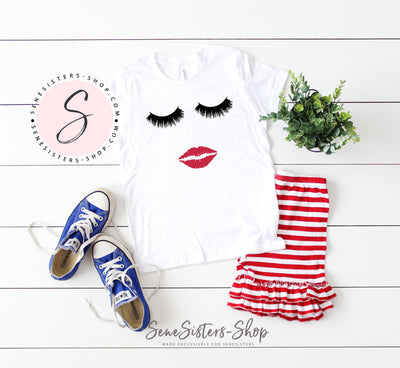 Lips & lashes Strawberry Shortcake - Bella & Canvas - Kids Short Sleeve Crewneck Jersey Tee Youth T-shirt - 5 colors available Size S/M/L MADE IN THE USA