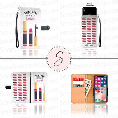 Ask me about my Lipstick & Lipsense 50 Lip Color Chart Swatches Cell Phone Wallet Case