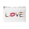 LOVE Lipsense Lipstick Kiss Print Travel Makeup Accessory Cosmetic Tote or Money Bag Size: Small or Large