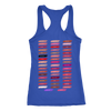 lipBoss (strawberry shortcake) & Lipsense 50 Shades Lip Color Swatches (Front & Back) - Ladies Racerback Tank Top Women - 4 colors available - PLUS Size XS-2XL MADE IN THE USA