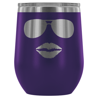 Sunglasses & Lips - 12 oz Stemless Wine Tumbler | Etched / Engraved Stainless Steel Mug Hot/Cold Cup - 12 Colors Available