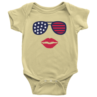 Patriotic Stars & Stripes Sunglasses & Lips Baby Onesie - 8 Colors AVAILABLE Size: Newborn - 24M - Infant Jersey Bodysuit - MADE IN THE USA