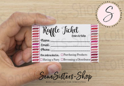 Lipsense Lipstick Lip Color Chart Swatches Raffle Ticket Printable Card Digital Download