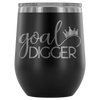 goal digger crown - 12 oz Stemless Wine Tumbler | Etched / Engraved Stainless Steel Mug Hot/Cold Cup - 12 Colors Available