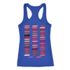 Lipstick Lips Kiss Print (strawberry shortcake) & Lipsense 50 Shades Lip Color Swatches (Front & Back) - Ladies Racerback Tank Top Women - 6 colors available - PLUS Size XS-2XL MADE IN THE USA