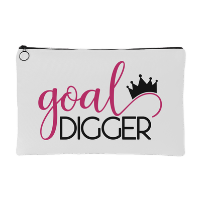 goal digger crown - Travel Makeup Accessory Cosmetic Tote or Money Bag Size: Small or Large