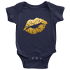 Gold Lips - Baby Onesie - 10 Colors AVAILABLE Size: Newborn - 24M - Infant Jersey Bodysuit - MADE IN THE USA
