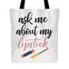 ask me about my lipstick Lipsense - Canvas Tote Shopping Bag - White or Blue - MADE IN THE USA