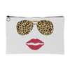 Leopard Sunglasses & Red Lipstick Lips - Travel Makeup Accessory Cosmetic Tote or Money Bag Size: Small or Large