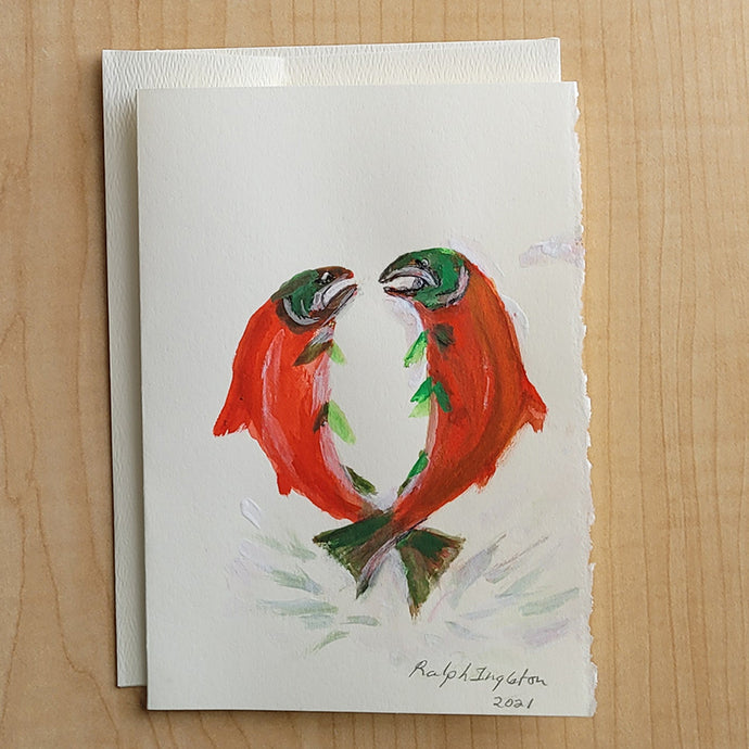 5x7 Hand Painted Card - Eye to Eye Sockeye