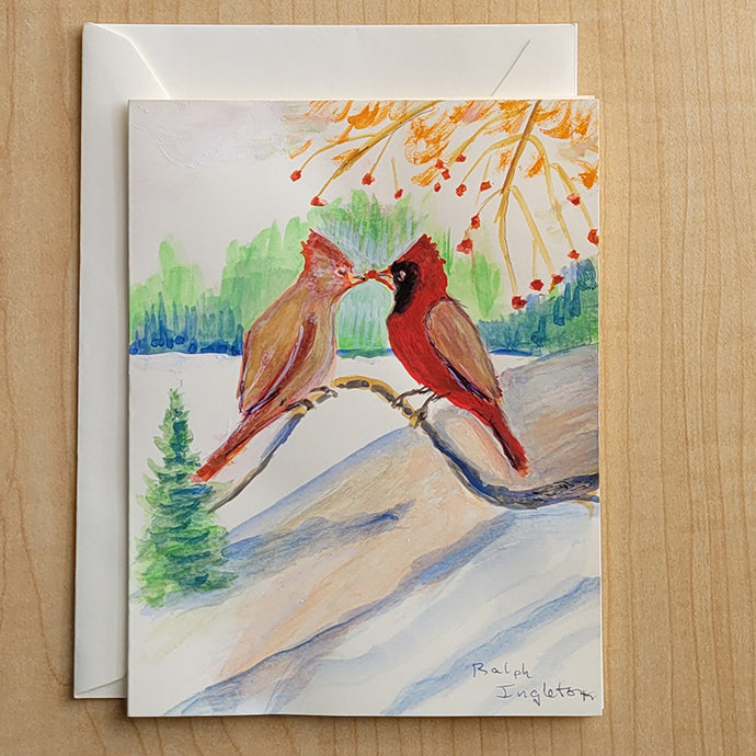 Hand Painted Card - Feeding Cardinals