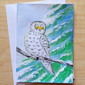 Hand Painted Card - Snowy Owl