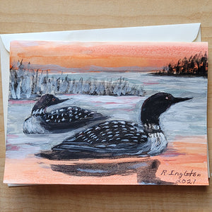 Hand Painted Card - Loons