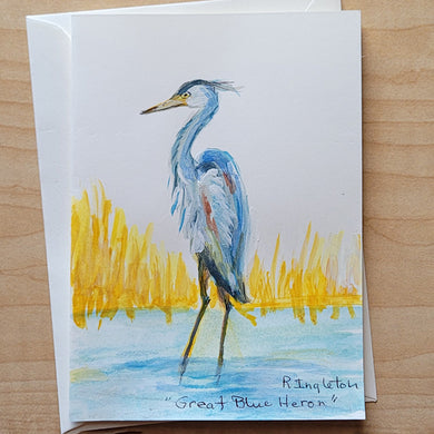 Hand Painted Card - Great Blue Heron