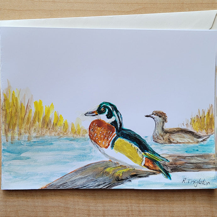 Hand Painted Card - Wood Duck