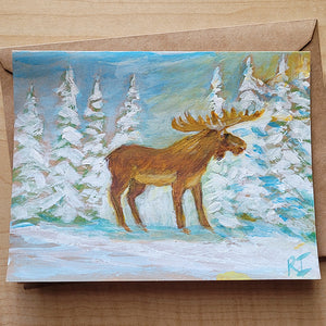 Hand Painted Card - Moose