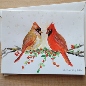 "Hand Painted Card - ""The Cardinals"""