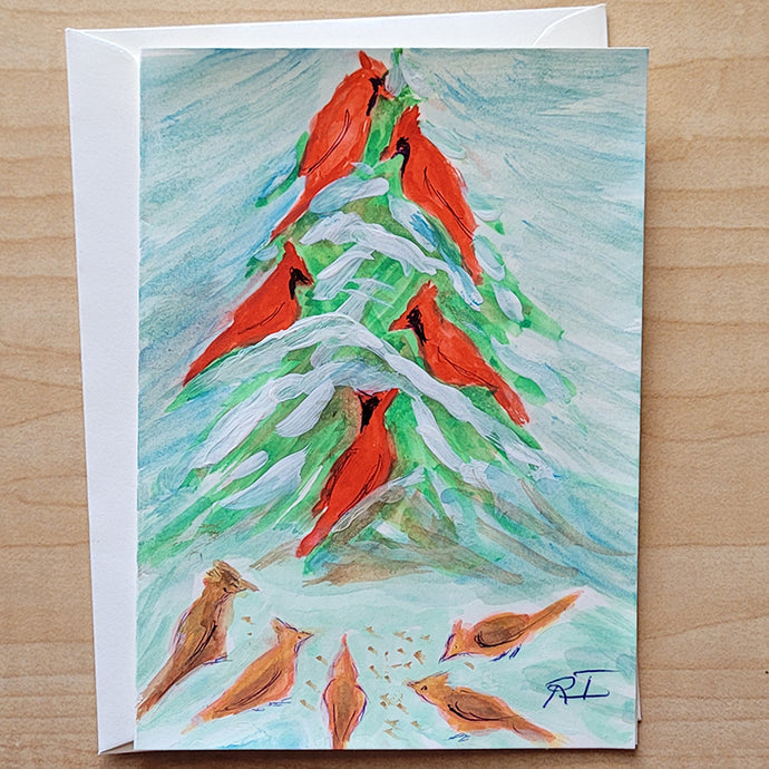 Hand Painted Card - Cardinals