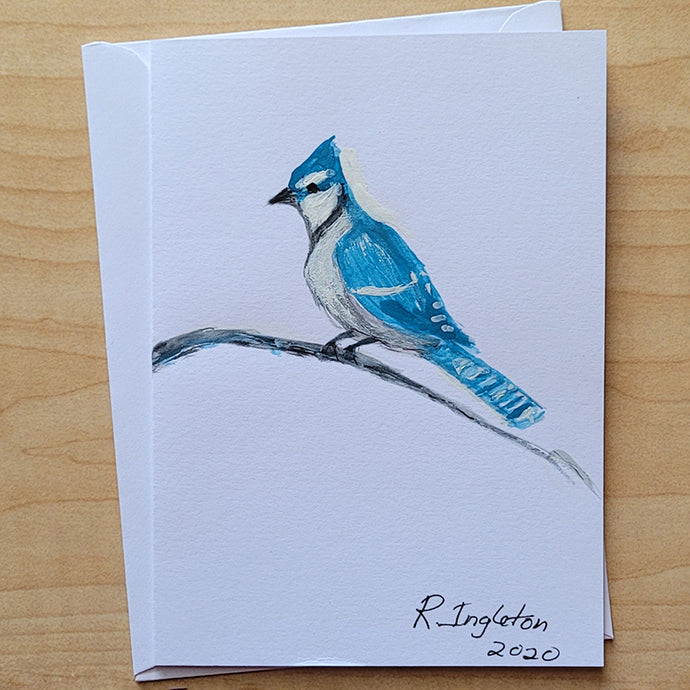 Hand Painted Card - Blue Jay