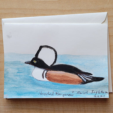 Hand Painted Card - Hooded Merganzer