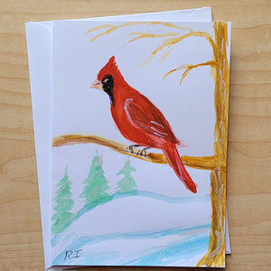 Hand Painted Card - Cardinal
