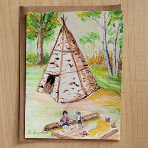 Hand Painted Card - Birch Bark Teepee