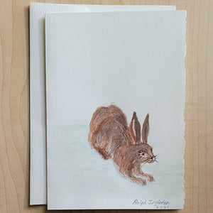Hand Painted Card - Hare