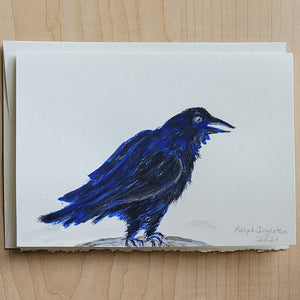 Hand Painted Card - Raven