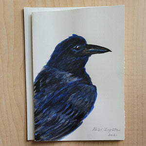 Hand Painted Card - Raven Head