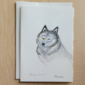 Hand Painted Card - Grey Wolf