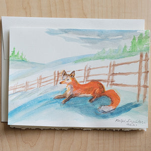 Hand Painted Card - Red Fox