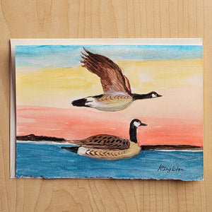 5x7 Hand Painted Card - Canada Goose