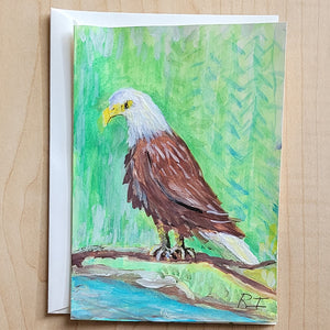 Hand Painted Card - Eagle