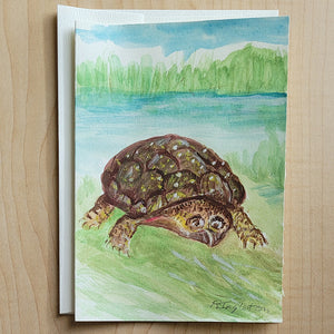 Hand Painted Card - Blanding Turtle
