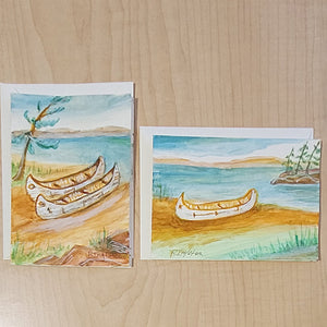 Hand Painted Cards - Set of 2 - Birchbark Canoes