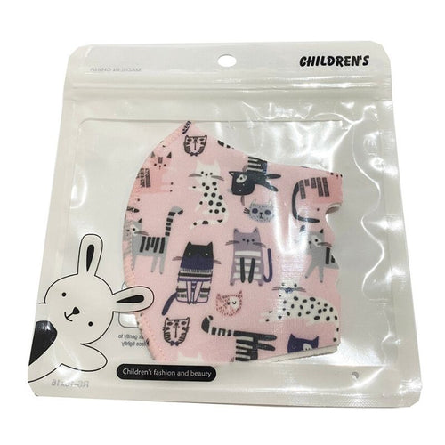 Kids Pink Cat Patterned Face Covering