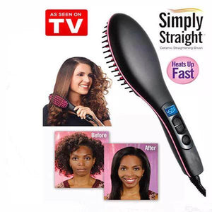 Simply Ceramic Heat Hair Straight Brush with Digital Control