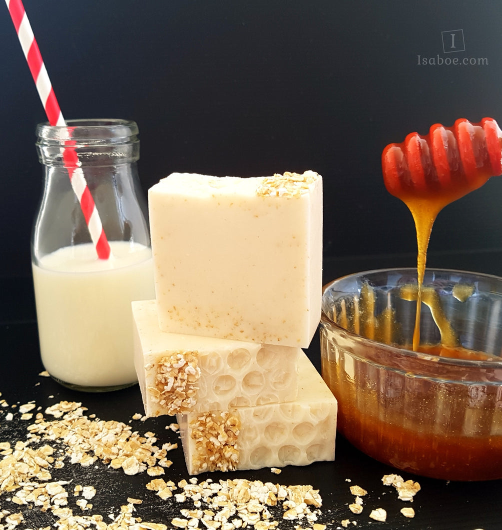 Oatmeal & Manuka Honey Goats Milk Facial Cleansing Soap,Skin Care,Isaboe,Gift Creations.