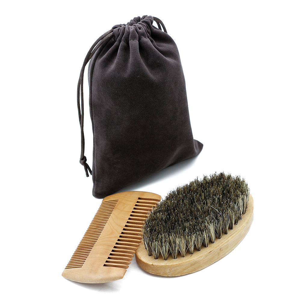 Boar Bristle Beard Brush and Comb Set,Beards,Grumpys for Men,Gift Creations.