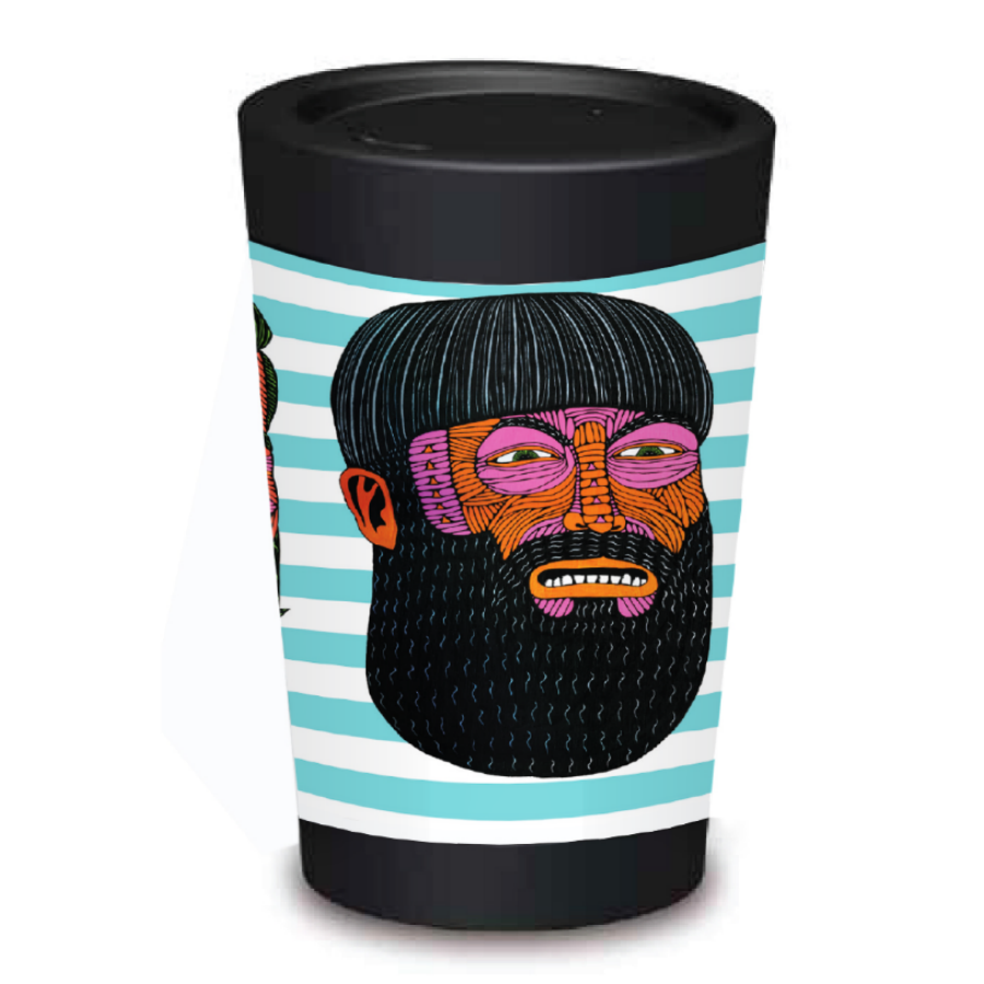 Eco-friendly Take Away Coffee Cup - Beards,,Gift Creatons,Gift Creations.