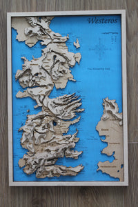 "Westeros (aus ""Games of Thrones"") - Holzlandkarte"