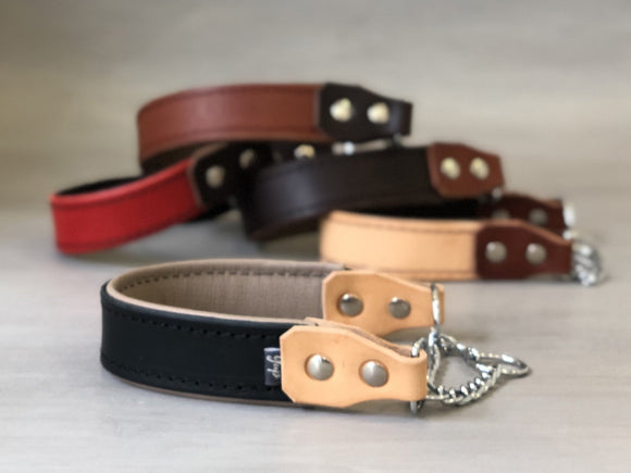 Padded Leather Martingale Dog Collar 5 Colors and Stainless Steel Chain